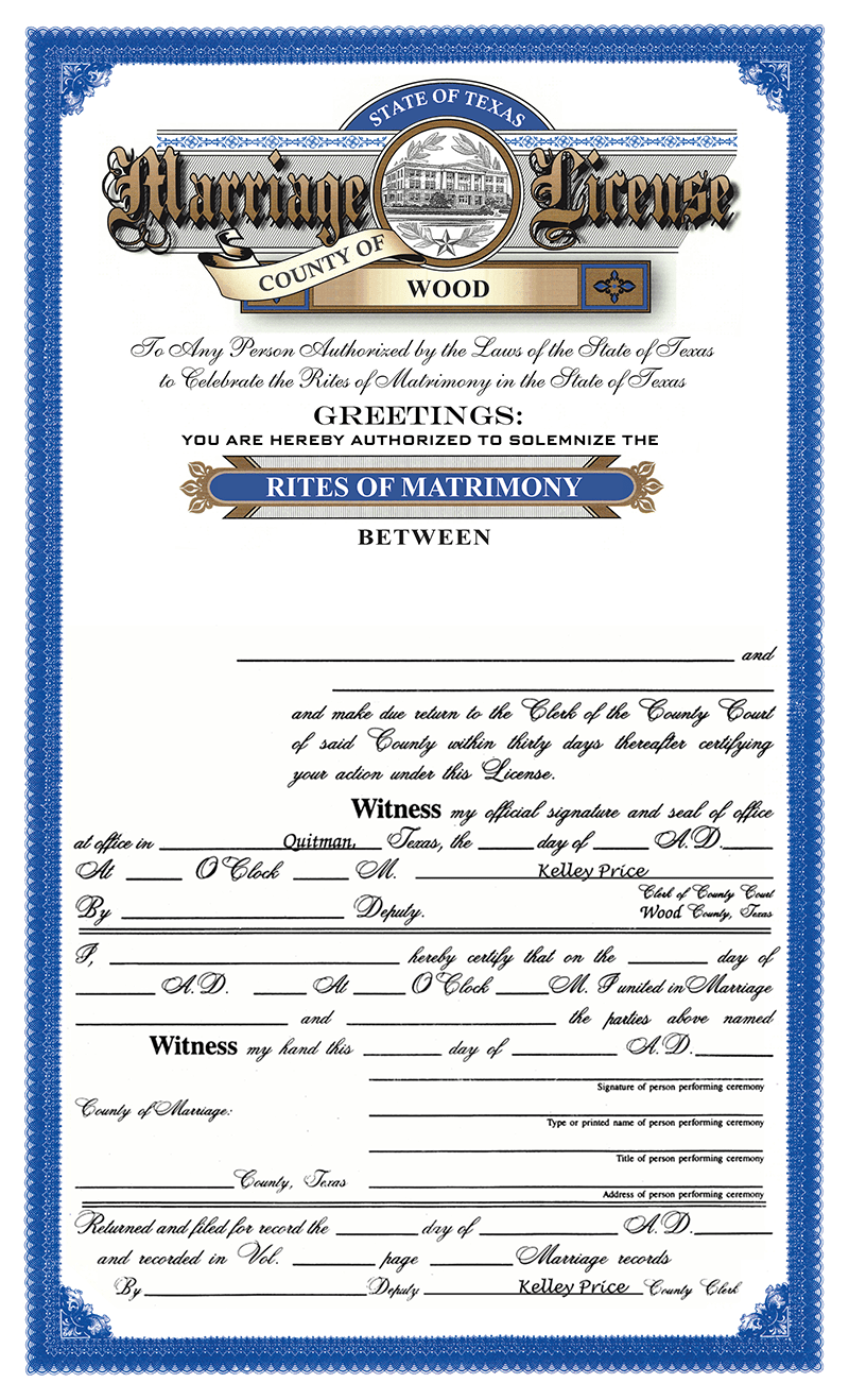 Marriage License - Scott Merriman - Over 30 years Serving