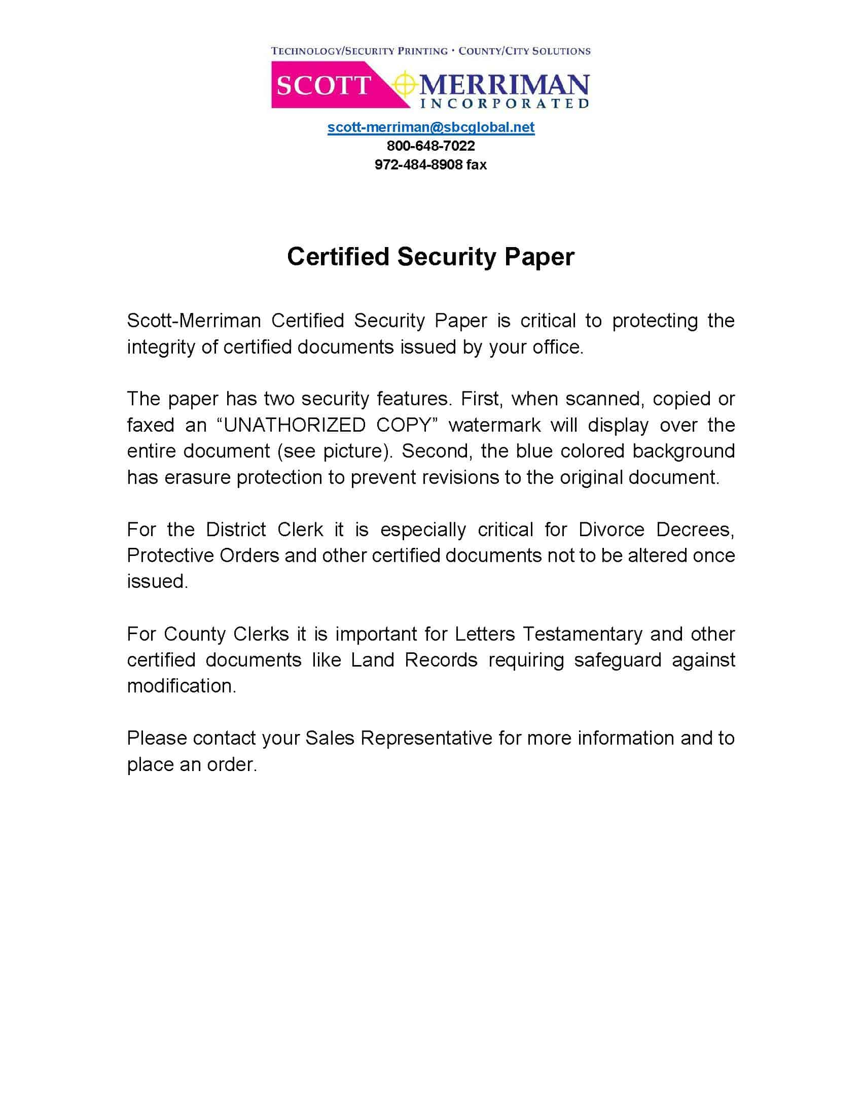 Certified Security Paper