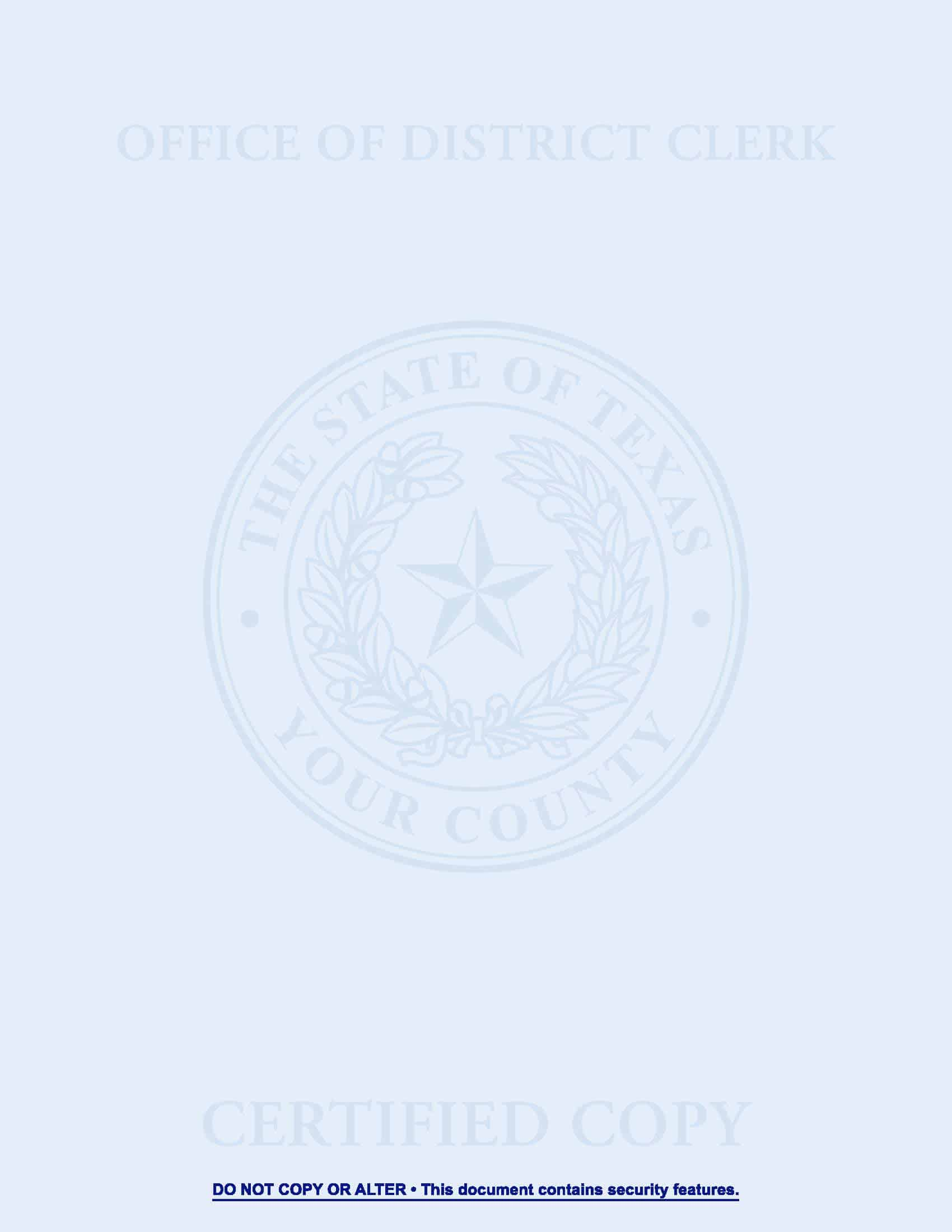 TX County Disctrict Clerk Certified Security Paper